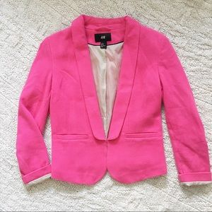 H&M | Pink 3/4 Sleeve Blazer